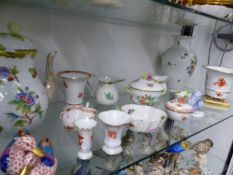 A QUANTITY TY OF VARIOUS HEREND ITEMS TO INCLUDE DUCKS, A LARGE TEAPOT, MICE, SMALL VASES ETC