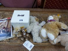 TWO MINIATURE JOINTED STEIFF BEARS, MY FIRST STEIFF BEAR, AND TWO BEANIE EXAMPLES OF STEIFF, LUISE