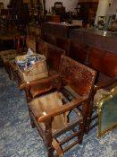 A SET OF EIGHT 17th C. STYLE DINING CHAIRS INC. TWO ARM CHAIRS.