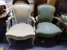 TWO SIMILAR ANTIQUE FRENCH SHOW FRAME SALON CHAIRS ON CABRIOLE LEGS.