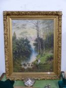 LATE 19th.C. ENGLISH SCHOOL. BY THE RIVER. INDISTINCTLY SIGNED, OIL ON CANVAS. 92 x 71cms.
