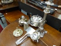 A QUANTITY OF SILVER PLATED WARE.