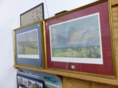AFTER LIONEL EDWARDS, FOUR COLOUR PRINTS OF HUNT SUBJECTS TOGETHER WITH NEEDLEPOINT PANEL.