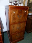 A YEW WOOD THREE DRAW FILE CABINET WITH SLIDE H. 112cm.