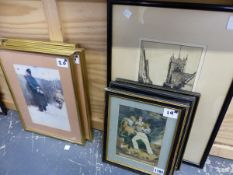 THREE 19TH CENTURY PRINTS OF SAILORS TOGETHER WITH AN ETCHING AND OTHER DECORATIVE PRINTS