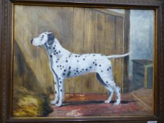 A PORTRAIT OF A DOG SIGNED INDISTINCTLY, OIL ON BOARD, TOGETHER WITH A WATERCOLOUR OF AN AFRICAN