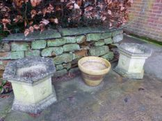 A PAIR OF HEXAGONAL PLANTERS AND A GLAZED PLANT POT