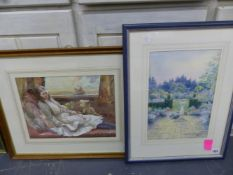 HELEN CROFTON (EARLY 20th C.) A FORMAL GARDEN VIEW, SIGNED WATERCOLOUR 37 X 26cms. TOGETHER WITH A