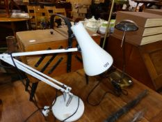 AN ANGLE POISED TYPE LAMP, A SEWING BOX AND TWO OTHER LAMPS.