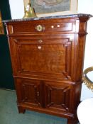 AN EARLY 19th CENTURY MAHOGANY AND MARBLE TOPPED SECRETAIRE CABINET 110cm WIDE x 144cm HIGH.
