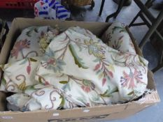 TWO PAIRS OF EMBROIDERED SMALL CURTAINS, A MATCHING SEAT SQUAB AND A CUSHION COVER.