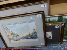 WIDOWSON, (20th C.) A STREET SCENE SIGNED WATERCOLOUR, 24X34cms, TOGETHER WITH FOUR OTHER MODERN