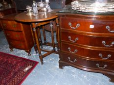 A SMALL OAK DROP LEAF TABLE, A BEDSIDE THREE DRAWER CHEST AND A SERPENTINE FOUR DRAWER CHEST.