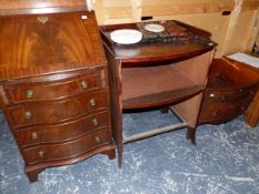 A SMALL MAHOGANY BUREAU, TOGETHER WITH A 19th C. NIGHT STAND AND A NEST OF TABLES.