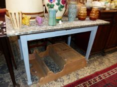 A FRENCH SIDE TABLE WITH GALVANIZED TOP AND PAINTED BASE.