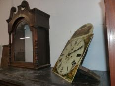 AN VICTORIAN OAK CASED GRANDFATHER CLOCK WITH 8 DAY MOVEMENT, CASE FOR RESTORATION.