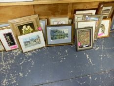 A LARGE COLLECTION OF FURNISHING PICTURES TO INCLUDE VARIOUS WATERCOLOURS ANTIQUE PRINTS, A FRAMED