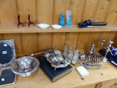 VARIOUS SILVER PLATED WARES, TWO VINTAGE TRUNCHEONS, A WHISTLE, AN EARLY GLASS ETC.
