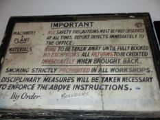 A VINTAGE HAND PAINTED SAFETY PRECAUTION SIGN.