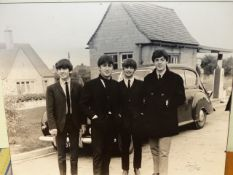 AN ORIGINAL LARGE SCALE 1963 PERIOD PHOTOGRAPHIC PRINT ON CARD, THE BEATLES, BELIEVED TO BE IN WITNE