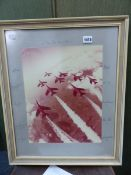 A SIGNED PHOTOGRAPHIC PRINT OF THE RED ARROWS SIGNED BY THE PILOTS, DATED 77.