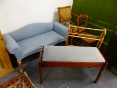 A SMALL UPHOLSTERED WINDOW SEAT, TWO CANE SEATED CHAIRS, A TOWEL RAIL AND A DUET STOOL.