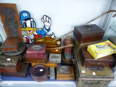 A COLLECTION OF ANTIQUE JEWELLERY AND TRINKET BOXES, TIN DEED BOXES, STATIONARY RACK, AND A DONALD