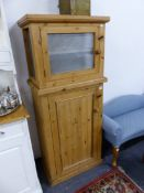 A PINE SMALL KITCHEN CABINET WITH MEAT SAFE ON UPPER SECTION.