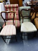 TWO VICTORIAN UPHOLSTERED SLIPPER CHAIRS, TOGETHER WITH A PAIR OF ROSEWOOD BEDROOM CHAIRS.