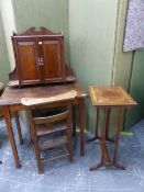 ANTIQUE MAHOGANY SIDE TABLE, A WALL CABINET, A CHAPEL CHAIR AND AN OCCASIONAL TABLE.