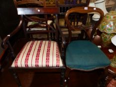 A REGENCY MAHOGANY ARM CHAIR AND A VICTORIAN ROSEWOOD CABRIOLE LEG CHAIR.