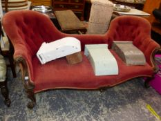 A VICTORIAN BUTTON UPHOLSTERED DOUBLE CHAIR BACK SALON SETTEE.