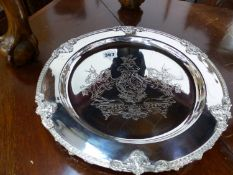 FIVE SMALL ARMORIAL DECORATED SILVER PLATED PLATTERS.