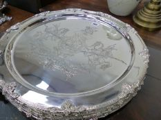 SIX LARGE ARMORIAL DECORATED SILVER PLATED PLATTERS.