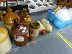 A GROUP OF STONEWARE FLAGON'S AND TWO HOT WATER BOTTLES