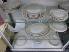A ROSENTHAL GOLDEN RAYS PATTERN TWENTY NINE PIECE DINNER SERVICE DESIGNED BY RAYMOND LOEWY CIRCA