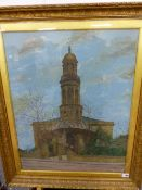 W PADBURY, A LATE 19th C. VIEW OF A CURCH POSSIBLY ST. MARYS BANBURY, OIL ON CANVAS.