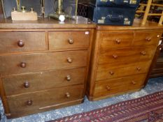 A VICTORIAN MAHOGANY CHEST OF DRAWERS AND A SIMILAR SMALLER CHEST.