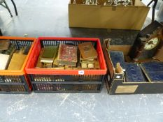 A QUANTITY OF ANTIQUE AND LATER BOOKS AND BINDINGS, AND AN AMERICAN MANTLE CLOCK.
