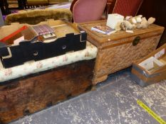 A VICTORIAN PINE BLANKET BOX, TOGETHER WITH A CARVED CAMPHOR WOOD BOX.