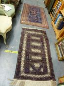 AN OLD TURKISH RUG 186 X 112cms, TOGETHER WITH A MIXED TECHNIQUE BELOUCH RUG.