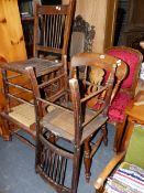 SIX VARIOUS ANTIQUE SIDE CHAIRS.