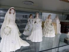 FIVE COALPORT AND ONE DOULTON BRIDE FIGURINES WITH SIX STANDS.