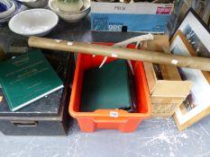 A TIN DEED BOX, JAGUAR CAR MANUALS, PICTURES, MAP ETC.