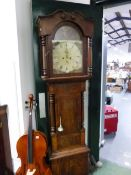 A 19th CENTURY MAHOGANY LONG CASE GRANDFATHER CLOCK WITH 8 DAY MOVEMENT AND PAINTED DIAL. SIGNED J