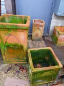 TWO SQUARE FORM TERRACOTTA PLANTERS.