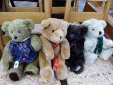 THREE JOINTED AND ONE OTHER TEDDY BEARS TO INCLUDE YESTERDAYS BEARS, OLDACRE BEAR, AND TWO OTHERS.