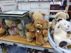 FIVE LARGE TEDDY BEARS.