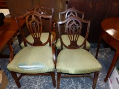 A SET OF FOUR GEORGE III MAHOGANY DINING CHAIR INC. ONE ARMCHAIR.