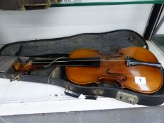 A VINTAGE UNNAMED CASED VIOLIN.